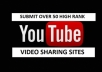 make a manual video SUBMISSION for you on over 50 high ranking most visited websites