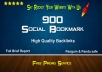submit your site to 900+ social bookmarking HQ backlinks + ping