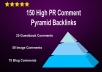 make SUPERIOR quality 150+ high pr comment pyramid backlinks