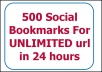 create 500 social bookmarks from PR9 to PR7 social bookmarking sites