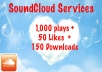 add 1,000 SoundCloud plays, 50 likes, and 150 downloads