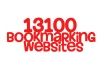 give you my massive list of over 13100 bookmarking sites