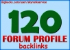 create 120 VERIFIED forum profile backlinks for your website or blog