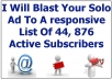 blast Your Solo Ad To A responsive List Of 44, 876 Active Subscribers