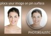 place your image on pin surface, PHOTOREALISTIC