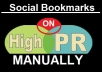 Bookmark Manually in Top 25 PR8 to PR4 Social bookmarking sites provide report of bookmarks