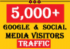 Drive★5000+ GOOGLE Organic & Social Media TRAFFIC to ROCKET Your Ranking