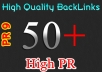 MANUALLY create High Quality 50+ PR5 PR9 Backlinks
