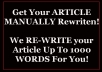 MANUALLY Rewrite Article Up To 1000 Words