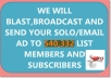 blast,Send and Broadcast your Solo,Email Ad to Our 540332 List and Members