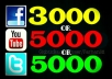 Get you 3,000 Facebook Likes OR 10,000 YouTube Views OR 5000 Twitter Followers