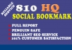 add your site to 810 social bookmarks high quality backlinks + rss + ping