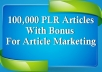 send you 100,000 PLR Articles
