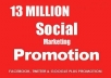 promote your website or anything on 13000000 facebook,google plus,twitter member
