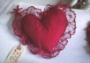 Perfect for Valentine's Day.  These Pretty Red Hot Cloth Heart Sachet / Pouches will hold your trinket or trinket box, and say I love you in style!