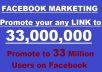 promote your link or whatever you want to 33 Million users on Facebook
