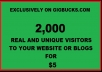 Provide 2000 Real And Unique VISITORS To Your website Or Blog  That Will Increase Your Exposure And Sales