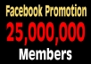 promote your website or anything with 25,000,000 Member on Facebook