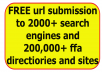 reveal an SECRET site containing 40 links where you can submit your site/links to over 2000+ TOP search engines,190,000+ FFA directories and 1000+ sites almost FREE and also get SEO freebies for FREE