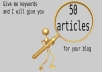 give 50 articles on any niche or keyword