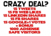 send 15 TWEETS, 15 FB WEB LIKES, 15 LINKEDIN SHARES, 15 FB SHARES, 15 GOOGLE+1 VOTES and 1000 ADSENSE SAFE VISITORS to any site