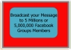 Broadcast your Message to 5 Millions or 5,000,000 Facebook Groups Members
