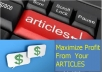 Teach You How To Monetize Every ARTICLE(S) You Write