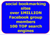 MANUALLY submit your website/blog/link to over 35+ PR9-PR0 social bookmarking sites and also submit to 100 Search Engines and post your site to over ONE MILLION+  REAL facebook group members + bonus