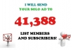 blast your and other messages  to 40,833 List Members