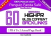 create 60 High PR blog comment 04PR6 12PR5 20PR4 24PR3 Dofollow backlinks