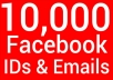 scrape 10,000 Facebook ID or Email from any fanpages or groups of your choice