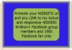 Promote your WEBSITE url and any LINK to my Active and responsive 4000000 4million+ Facebook group members and 1900 Facebook fan only