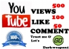 give you 500views 100Like and 50Com on your youtube video