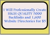 professionally Create HighQUALITY 5000 Backlinks and 1,600 Website Directories