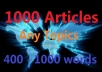 give 1000 Spun Articles on any keyword in 24 hours