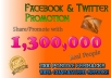 promote your website or page more than 1300000 people on Facebook twitter