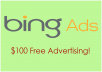 give 100USD Bing Ads Coupon for PPC campaign
