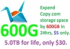 Expand Copy.com cloud storage space by 600GB