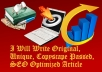 write 500 Words Original SEO Optimized Article