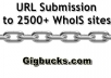 submit your URL to 2500 whoIS sites and Creating Back links
