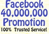 share your link to 40,000,000 Facebook Fans and Twitter