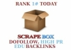 create 1500+ dofollow, 1500+ high PR and 300 edu gov blog comments backlinks using scrapebox, unlimited URLs and keywords allowed