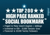blast your website to TOP 200 social bookmarking sites to get high google seo