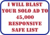 blast Your SOLO Ads To Our 45,000 Targeted Niche Of Your Choice