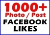add You 1000+ Real Facebook Fan Page Likes Or  Photo Likes Or Post likes