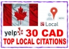 listing your business details to 30 top Canada Citations sites to boost your Google+ places