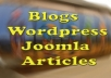 create your wordpress or joomla or blog with 1 unique article in any topic you like