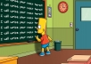 write your message by Bart Simpson on chalkboard