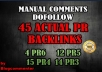 manually do 45 blog comments on Actual Page Rank4PR6,12PR5,15PR4, 14PR3 DoFollow