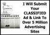 submit Your CLASSIFIED Ad And Link To Over 5 Million Advertising Sites